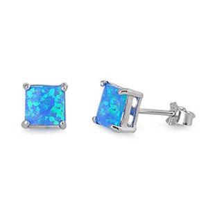 Princess Cut Lab Blue Opal Solitaire Stud Earring